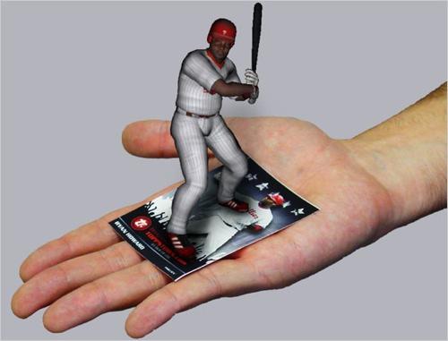 Ejemplo de Realidad Aumentada, con un target sobre la mano.